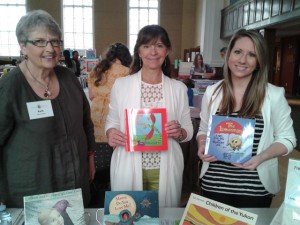 Authors Cathy Lumsden and Natasha Ferrill hold up the books they donated to us.