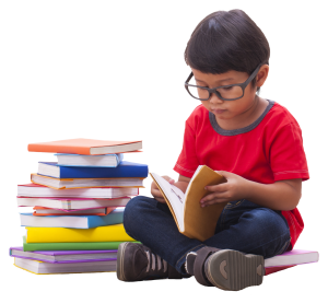 Boy reading transparent background