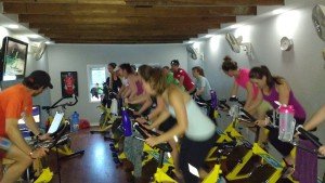 Picture of group on spinning bikes